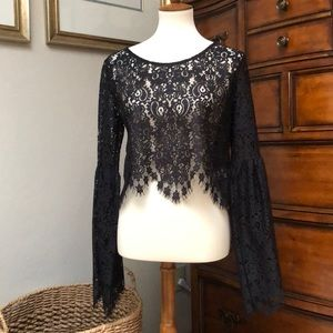 NWOT For Love and Lemons Crop Lace w Bell Sleeve L